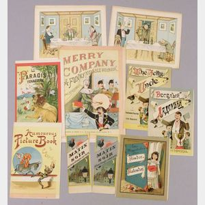 Nine Chromolithograph Proof Sheets for Meggendorfer Mechanical Picture Books