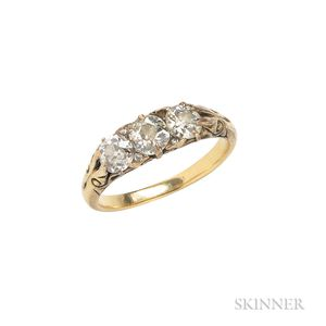 Antique 18kt Gold and Diamond Three-stone Ring