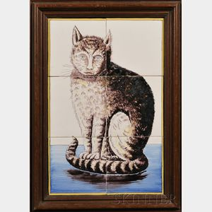 Six Tile Dutch Delft Cat Portrait