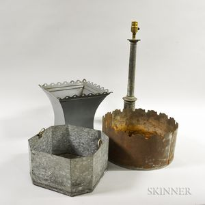 Two Sheet Tin Containers, a Lamp Shade, and an Aluminum Lamp Base.