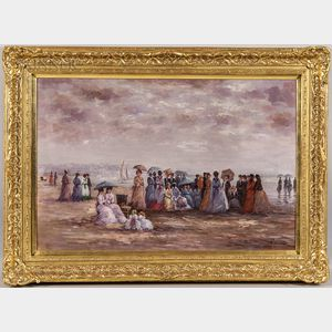 American School, 20th/21st Century      Elegant Women and Children on the Beach