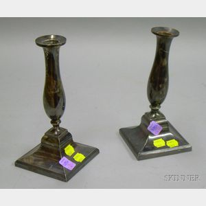 Pair of Silver Plated Candlesticks.