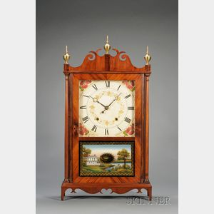 """Mahogany """"Whale's Tail"""" Pillar and Scroll Clock by Samuel Terry"""