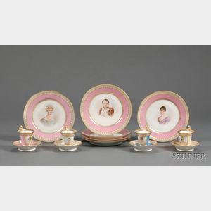 Fourteen-Piece Sevres Porcelain Partial Luncheon Service