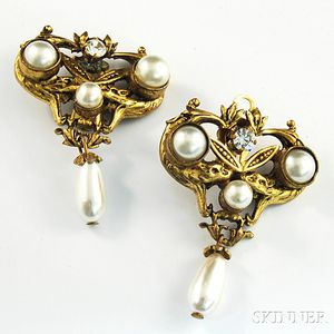 Pair of Vintage Chanel Costume Earclips