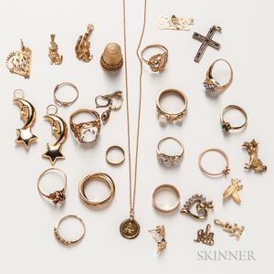 Group of Gold and Gold-plated Jewelry