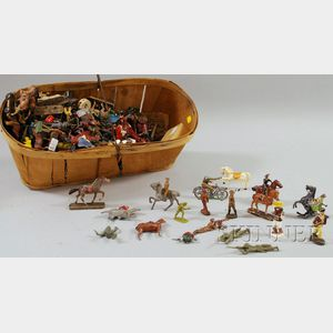Large Group of Mostly Lead, Plastic, and Composite Toy Soldiers and Related Items