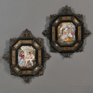 Pair of Framed Capo-di-Monte-style Porcelain Plaques