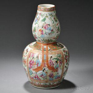 Rose Medallion Gourd Vase