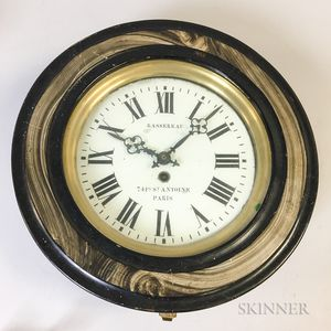 French Bassereau Grain-painted Hanging Wall Clock