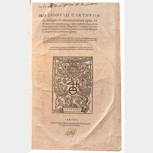 Denis the Carthusian (1402-1471) [aka] Denys van Leeuwen, Denis Ryckel, Dionysius van Rijkel, Dionysius Carthusianus, etc. Insigne Comm