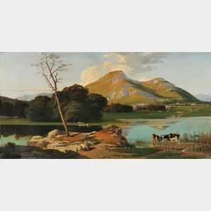 Vincenzo Stancanpiano (Italian, b. 1835)      Mountain Landscape with Cows Watering