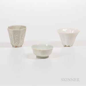 Three Blanc-de-Chine Cups
