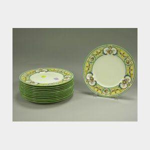 Set of Twelve Cauldon Enamel Decorated Porcelain Luncheon Plates