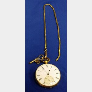 18kt Gold Cased Keywind Pocket Watch and Chain