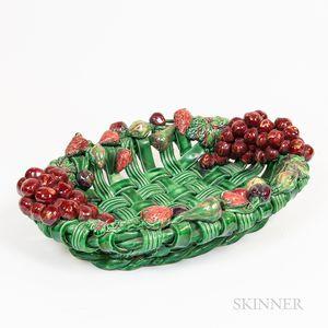 Large French Pottery Basketweave Fruit Bowl