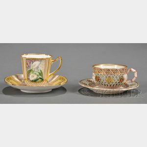 Two English Porcelain Cups and Saucers