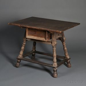 Swiss Alpine Baroque-style Oak and Pine Center Table