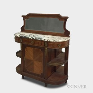 Louis XVI-style Inlaid Mahogany Marble-top Credenza