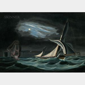 Attributed to Ernest Poulson (British, fl. 1836-1865)      Nighttime Encounter with Smugglers off the Isle of Thanet