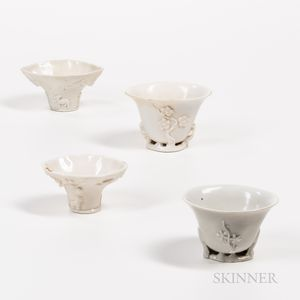 Four Blanc-de-Chine Libation Cups