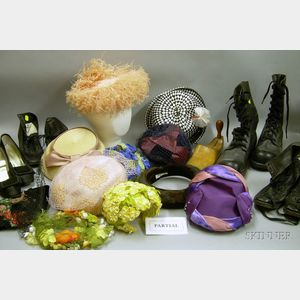 Nineteen Assorted Vintage 20th Century Lady's Hats and Seven Pairs of Shoes/Boots