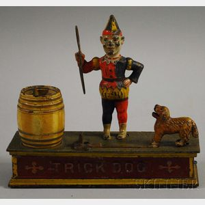 """Shepard Hardware Co. Painted Cast Iron """"Trick Dog"""" Mechanical Bank"""