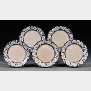 Five Dedham Pottery Rabbit Pattern Plates