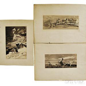 Max Klinger (German, 1857-1920)      Intermezzi: Three Unframed Works