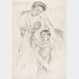 Mary Cassatt (American, 1844-1926)      Looking into the Hand Mirror No. 3