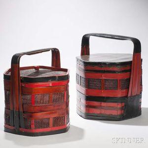 Two Rattan Wedding Baskets