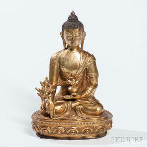 Gilt-bronze Medicine Buddha