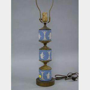 Wedgwood Three-part Light Blue Jasper Table Lamp