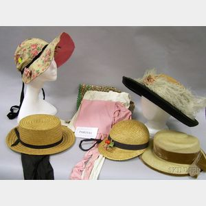 Eight Early 20th Century Straw Hats, an Assortment of Mostly Cotton Bonnets, Victorian Headwear, and Dolls Hat...
