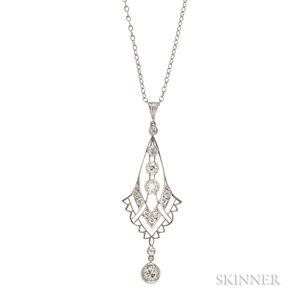 Art Deco Platinum and Diamond Lavaliere