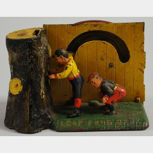 """Shepard Hardware Co. Painted Cast Iron Mechanical """"Leap Frog Bank,"""""""