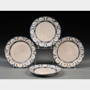 Four Dedham Pottery Rabbit Plates