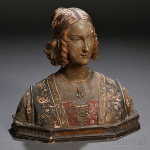 Painted Terra-cotta Bust of a Renaissance-style Woman