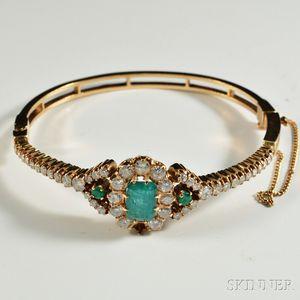 14kt Gold, Diamond, and Emerald Bangle