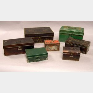 Eight Assorted Decorated Tin Boxes