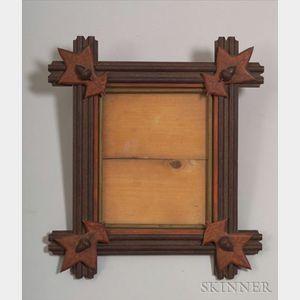 Painted Oak Leaf and Acorn-adorned Wooden Frame