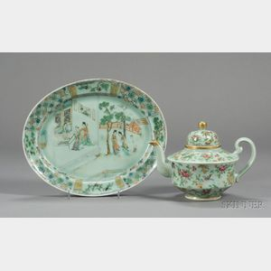Chinese Export Porcelain Celadon Teapot and Oval Platter