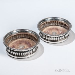 Pair of George III Sterling Silver Wine Coasters