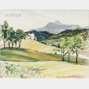 Luigi Lucioni (American, 1900-1988)      Farm and Rolling Fields
