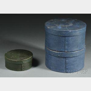 Three Round Painted Lap-seam Pantry Boxes