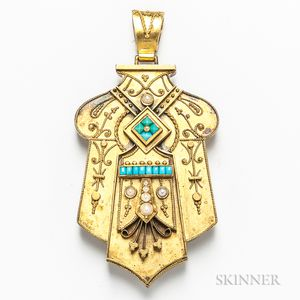 Antique 14kt Gold, Turquoise, and Pearl Pendant/Locket