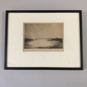 Framed Etching of a Field with a Windmill