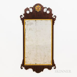 Chippendale-style Mahogany Veneer and Gilt Scroll Mirror