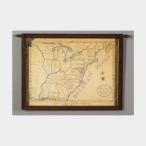 American School, 19th Century  Pembroke Academy Schoolgirl Map of the United States.