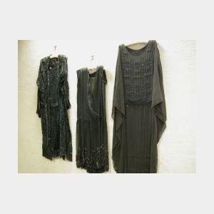 Three 1920-1935 Ladys Black Beaded Evening Dresses.